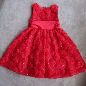 Rare, Too! Girls' Red Rose Party Dress